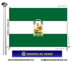 Bandera Autonómica de Andalucía con escudo
