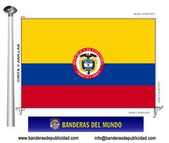 Bandera país de Colombia con escudo