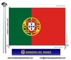 Bandera país de Portugal con escudo