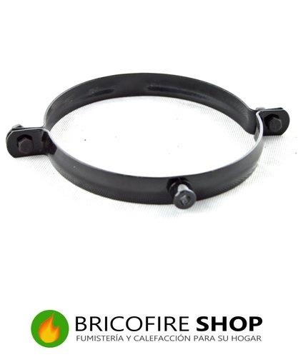 Abrazadera negro brillo para sujeción de tubo a la pared