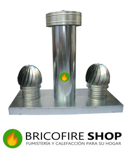 Caja de aspiración con tres salidas combinadas con tubos y sombreretes.