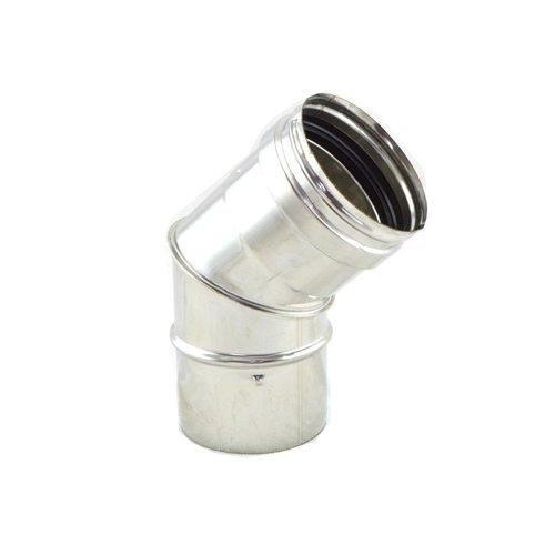 Codo 45º inox 316 para estufas de pellet
