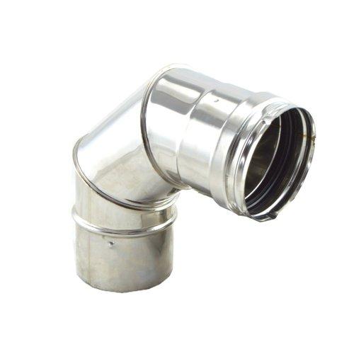 Codo 90º inox 316 para estufas de pellet de 80 mm