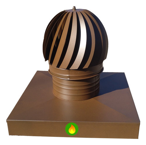 Sombrero aspirador con caja adaptador chimenea cuadrada en marrón oxido.