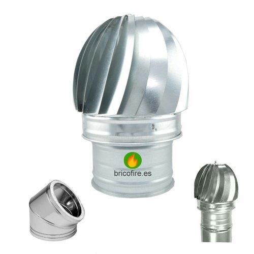 Sombrerete Aspirador giratorio para tubo de doble pared. Inox o galvanizado.