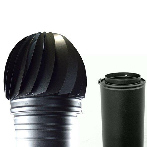 sombrerete aspirador giratorio para tubo de doble pared practic lacado en negro mate forjado.
