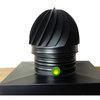 Adaptador cuadrado para chimeneas con sombrerete aspirador giratorio en negro mate.