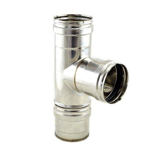Te 90º inox 316 tubo pellet con tapon de 80 mm
