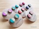 Pendientes botones XL bicolores