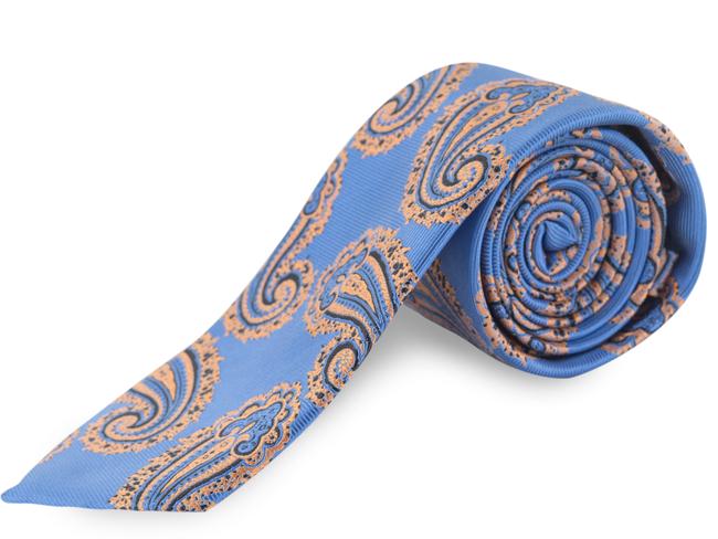 Corbata cachemir azul azafata y caldera