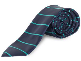 Corbata raya azul marino y verde agua
