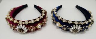 Diadema invitada terciopelo piedras y joyas (burdeos, azul marino)