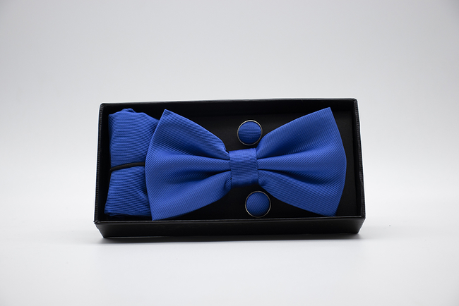 Pajarita, pañuelo y gemelos azul