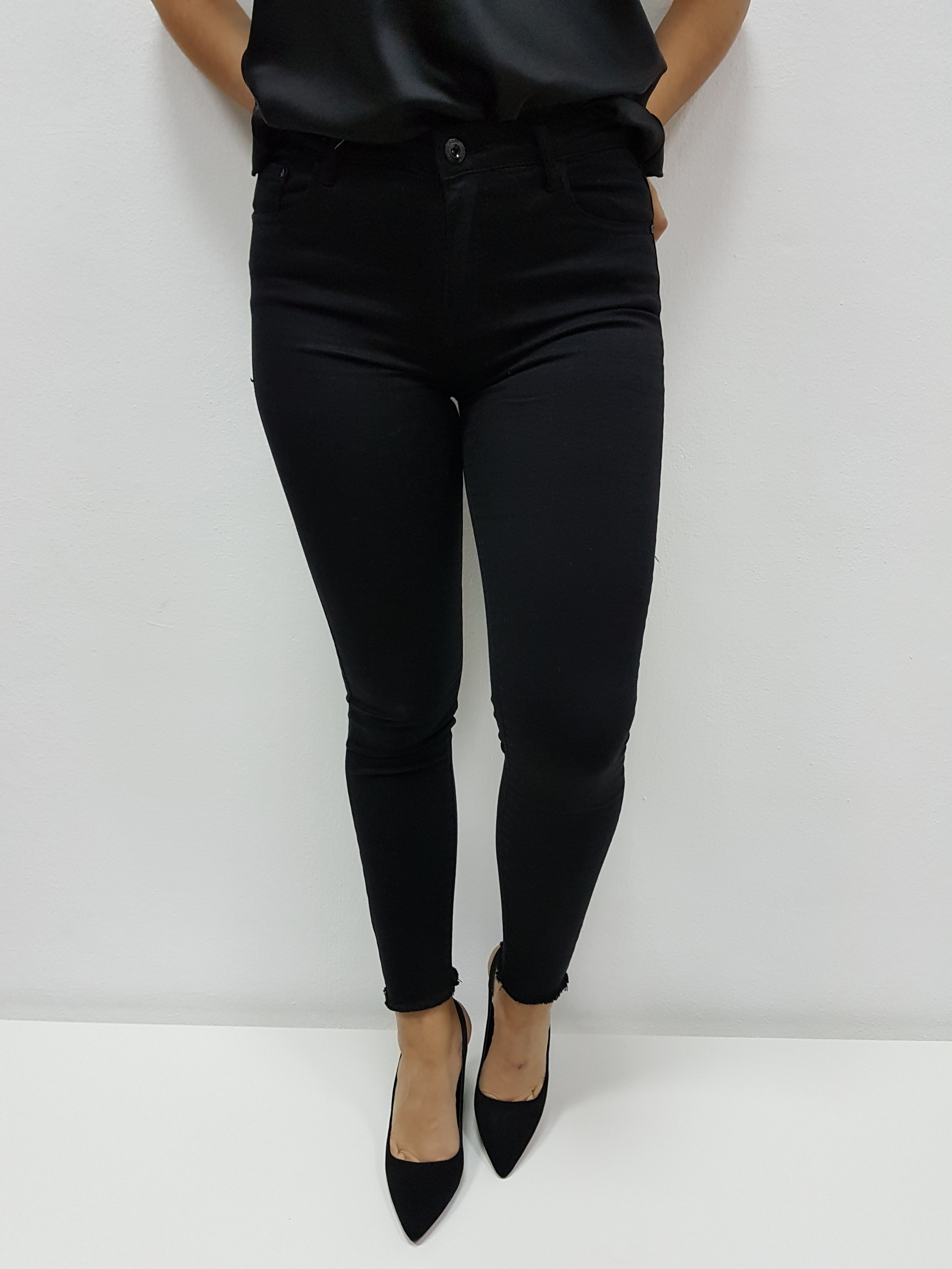 Skinny Negro Tiro Alto Pantalones Euforia Modas