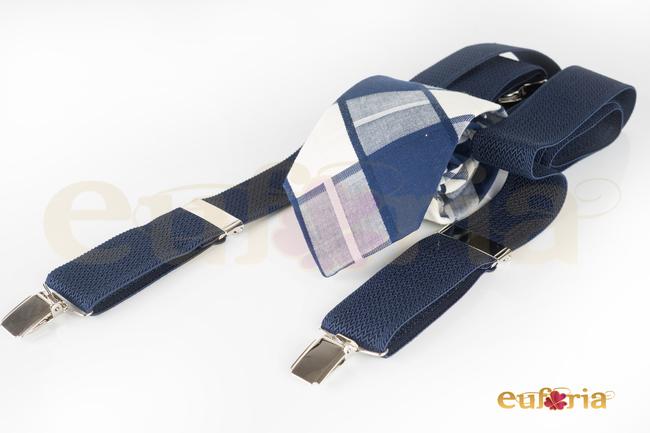 Corbata de cuadros tonos azules y blancos