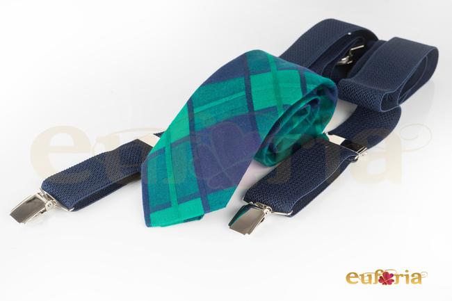 Corbata de cuadros tonos verdes y azul marino