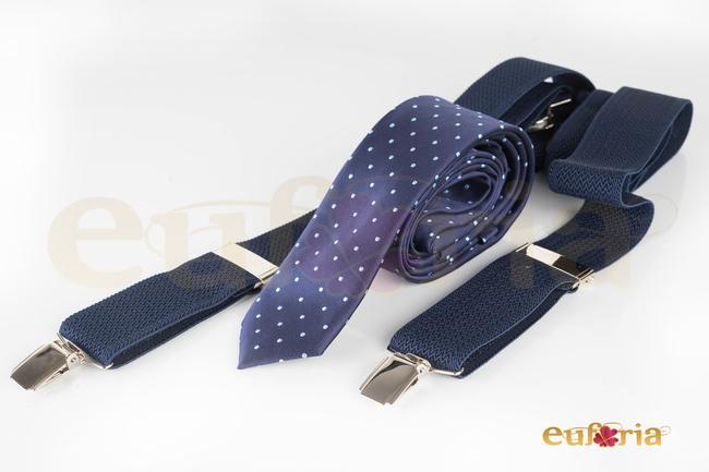Corbata azul marina con lunares celestes