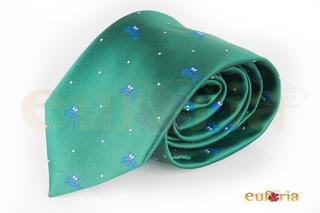 Corbata verde con coche y puntos blancos
