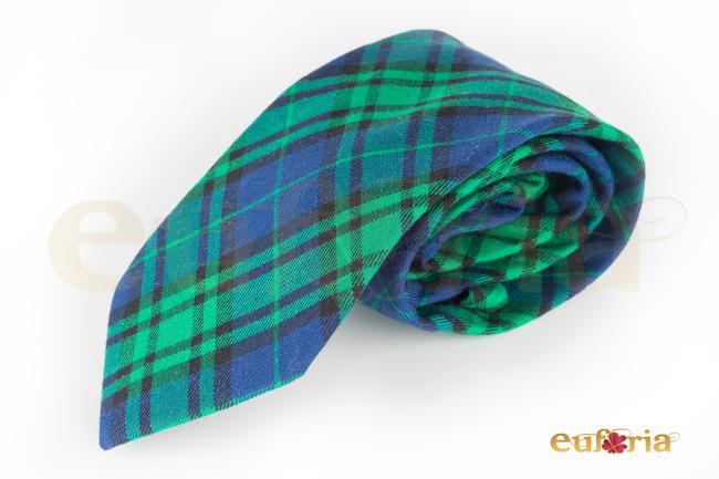 Corbata ancha cuadros tonos azules y verdes