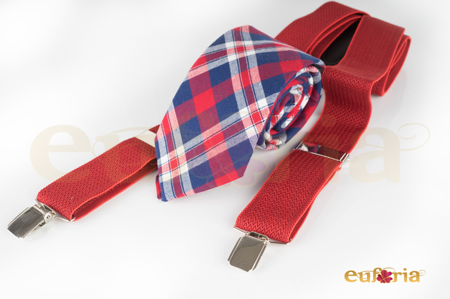 Corbata de cuadros tonos rojos y azules