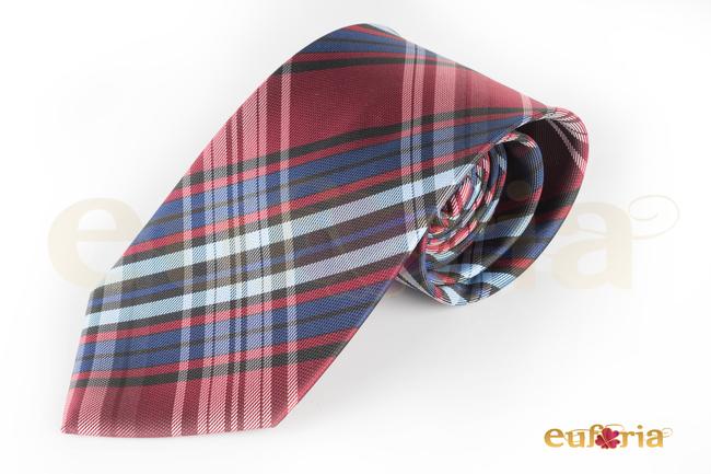 Corbata de cuadros tonos burdeos y azules
