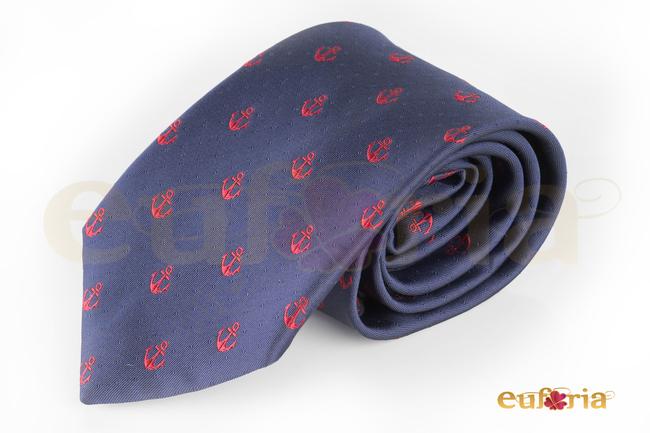 Corbata azul marina con anclas rojas