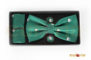 Pajarita, pañuelo y gemelos verde con coches