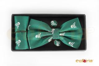 Pajarita, pañuelo y gemelos verde con caravelas