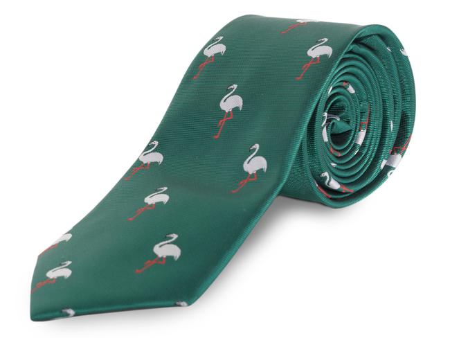 Corbata verde con flamencos