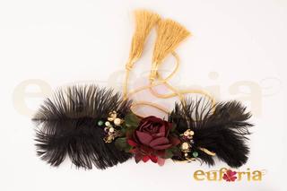 Cinturón de fiesta, plumas y flores Ref. 71