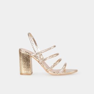 Sandalias tacón tiras doradas