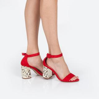 Sandalias roja tacón joya