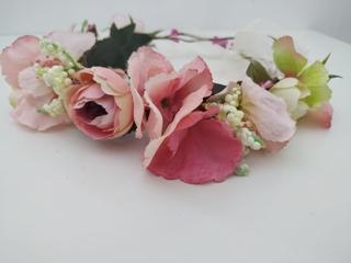 Corona de flores Ref. 08 tonos rosa y beige