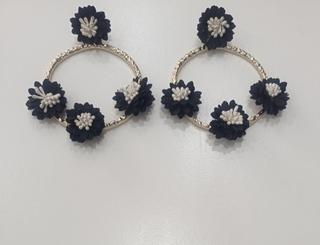 Pendientes flamenca flores negra