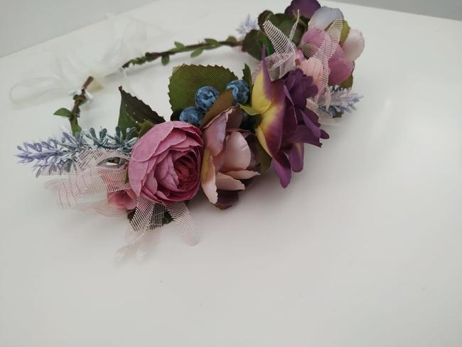 Diadema de flores Ref. 01 tonos rosas y morados