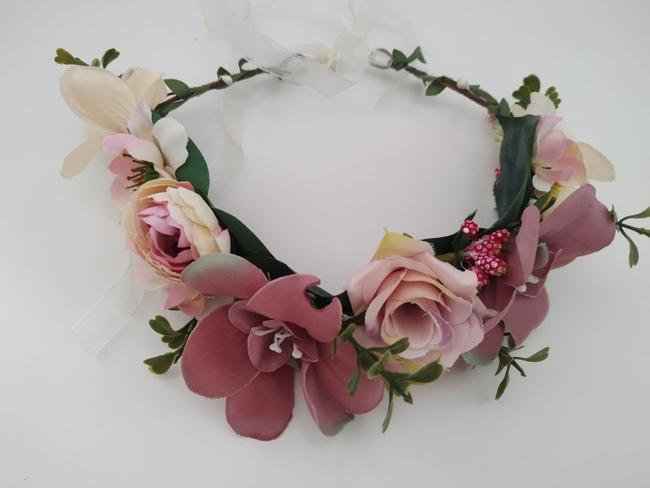Corona de flores Ref. 04 tonos rosa y beige