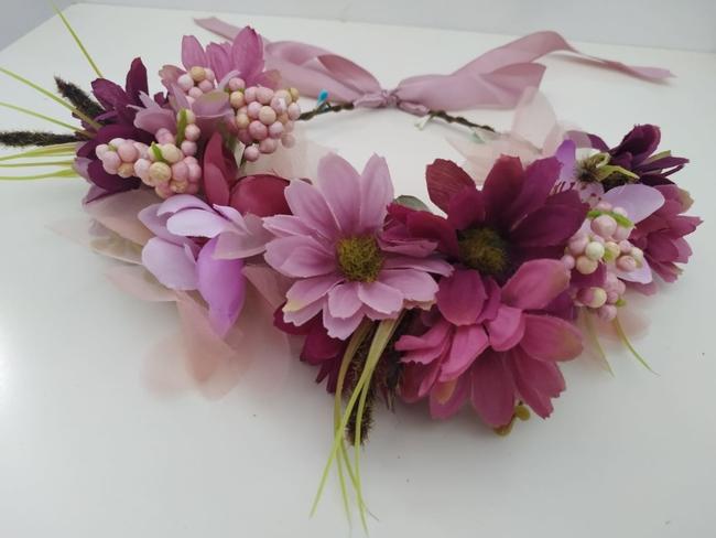 Corona de flores Ref. 09 tonos buganvilla y malva