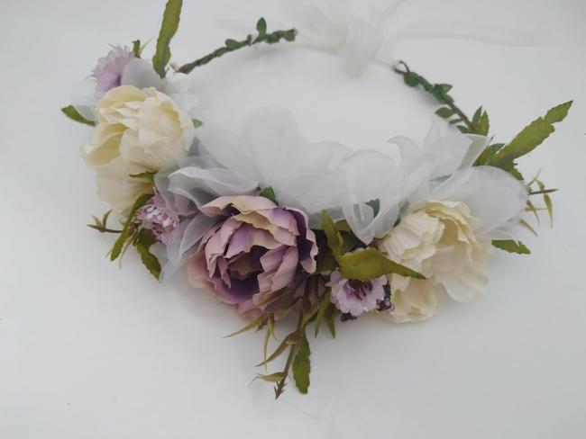 Corona de flores Ref. 011 tonos malva y beige