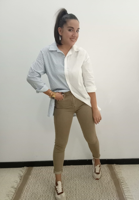 Pantalón skinny camel