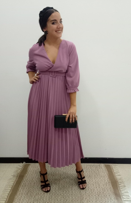 Vestido fiesta tabla rosa