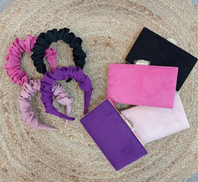 Diadema invitada fruncida (Morada y rosa)