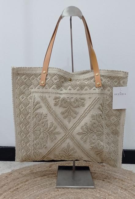 Bolso shopper beige tejido