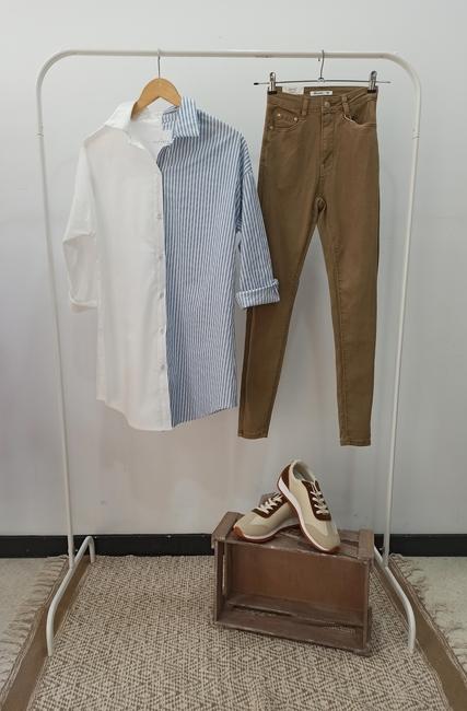Camisa larga bicolor