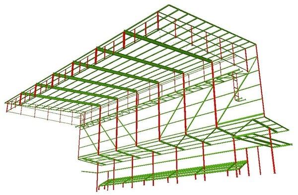 Vista interior de la estructura (modelo)