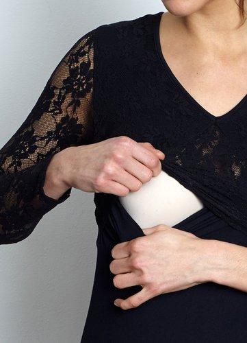 Vestido Lactancia Con Encaje De Bambú - Negro
