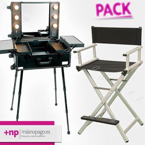 maletin de maquillaje y silla de maquillaje pack