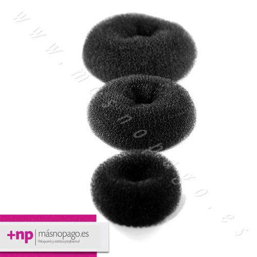 Rellenos Peinado Moño Circular Negro 3 unidades