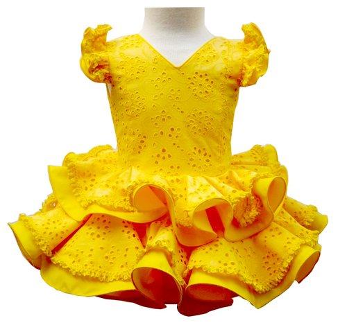 Traje de gitana para niña amarillo perforado dos volantes