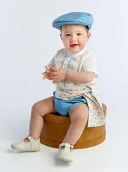 Ranita flamenca para niño compuesto por camisa con chorreras, ranita y fajín a juego rnt402 MiBebesito