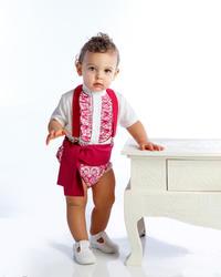 Ranita flamenca para niño compuesto por camisa con chorreras, ranita y fajín a juego rnt407 MiBebesito modelo